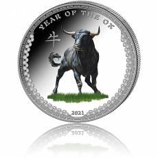 Silbermünze 1 oz Jahr des Ochsen/Year of the ox PP Farbe 2021
