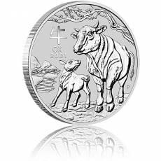 5 Unzen Silbermünze Australien Lunar III Ochse  (2021)