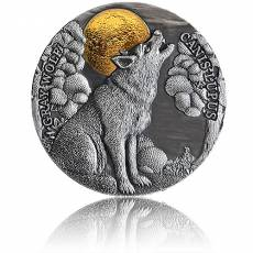 Silbermünze 2 oz Grauwolf im Mondschein 2020