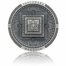 3 oz Silbermünze Vasudhara Mandala Archeology Symbolism - Antik Finish (2020)