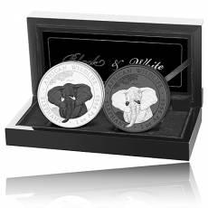 Silbermünzen - Satz Somalia Elefant Black & White 2021