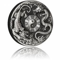 2 Unzen Silbermünze 2 $ - Drache & Tiger Antik Finish 2021