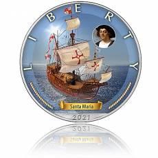 Silbermünze Zeitalter der Segel Santa Maria 1. Ausgabe 2021
