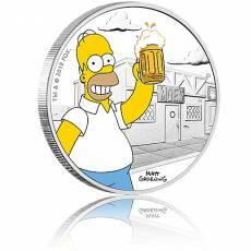 Silbermünze 1 oz The Simpsons Homer PP farbig 2019 1. Ausgabe