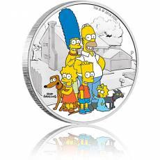 Silbermünze 2 oz Die Simpsons Familie PP farbig 2019