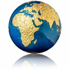 Silbermünze 3 oz Blauer Planet Erde - Blue Marble Kugelförmig vergoldet 2021
