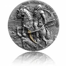 2 Unzen Silbermünze Pale Horse Four Horsemen of Apokalypse Antik Finish 2021
