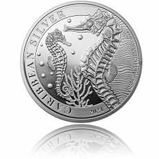 1 oz Silbermünze Caribbean Barbados Seahorse - Seepferdchen (2021)