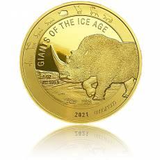 1 Unze Goldmünze Giganten der Eiszeit - Wollnashorn polierte Platte (2021)