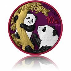Silbermünze China Panda Golden Space Metals Effekt 2021