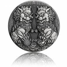 2 Unzen Silbermünze Double Pixiu Antik Finish 2021