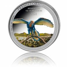 1 Unze Silbermünze Prehistoric Life Archaeopteryx Farbe 2021