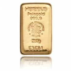 250 gramm Goldbarren - Heraeus 999,9/1000