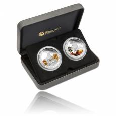 Lunar Good Fortune Two Coin Set Jahr der Ziege Wealth & Wisdom 2015