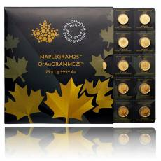 25x 1g Goldmünze Maple Leaf 2015 (Maplegram)