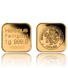 10 x 1 gramm Goldbarren 999,9/1000 Heraeus MultiDisc