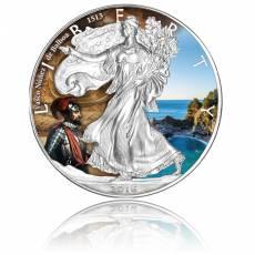 Silver Eagle Entdecker-Serie Vasco Nunez de Balboa 1 Unze Silber farbig (2016)