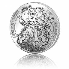 1 Unze Silbermünze 999/1000 Ruanda Flusspferd 2017