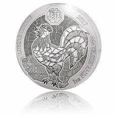 1 Unze Silbermünze Ruanda Lunar Hahn 2017