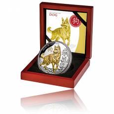 Jahr des Hundes 5 oz Silber teilvergoldet PP Niue Island 2018